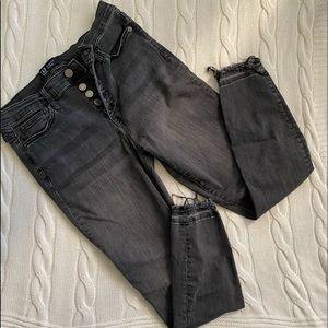 GAP black skinny jeans with distressed edges